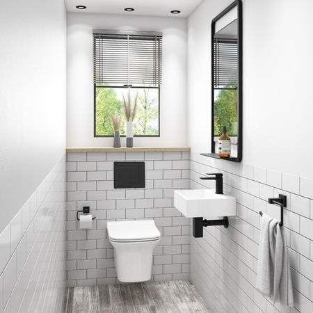 Santiago Rimless Wall Hung Toilet with Soft Close Seat and Wirquin WC Frame with Black Flush Plate