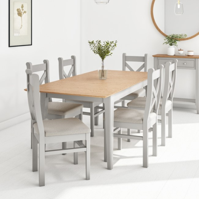 Extendable Dining Table & 6 Chairs in  Fabric & Solid Oak - Adeline