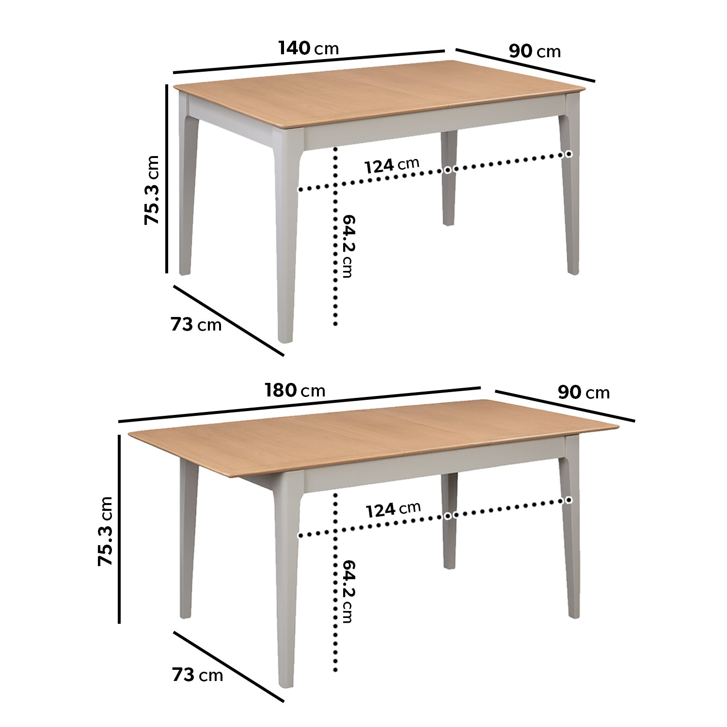Extendable Dining Table & 9 Chairs in Fabric & Solid Oak   Adeline