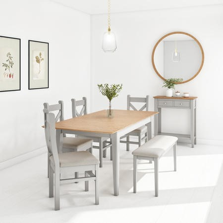 Adeline Grey Extendable Dining Table with 4 Dining Chairs and  1 Bench