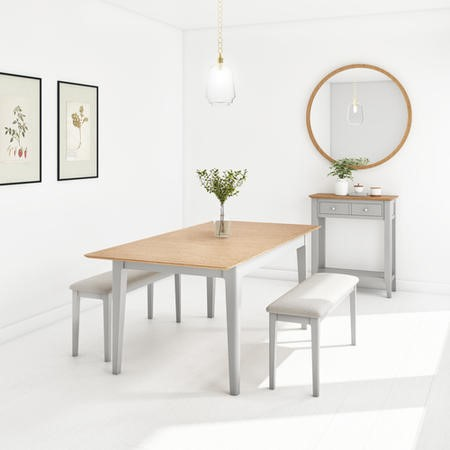 Grey Extendable Dining Table with 2 Dining Benches - Seats 4 - Adeline