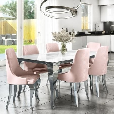 Mirrored 160cm Dining Table Set with White Glass Top & 6 Pink Velvet Chairs