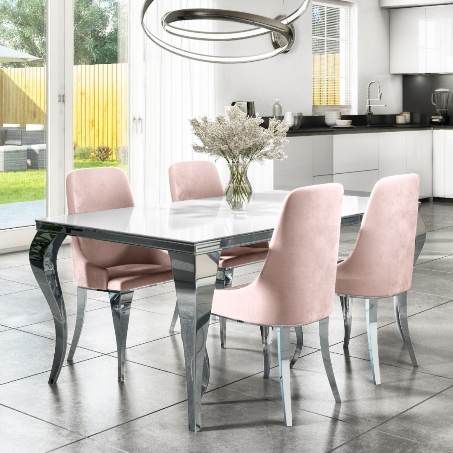 Picture of: Mirrored 160cm Dining Table Set With White Glass Top 4 Pink Velvet Chairs Furniture123