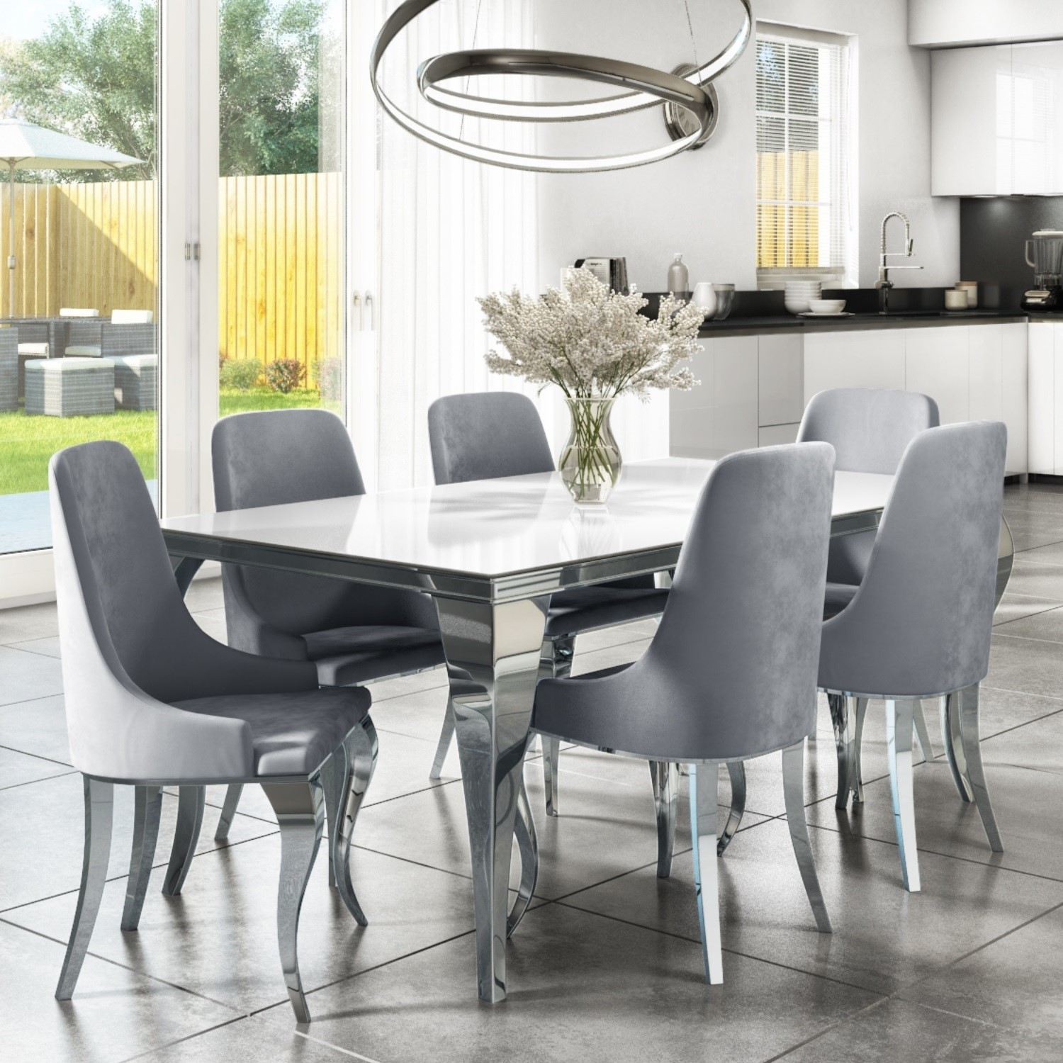 Mirrored 160cm Dining Table Set With White Glass Top 6 Grey