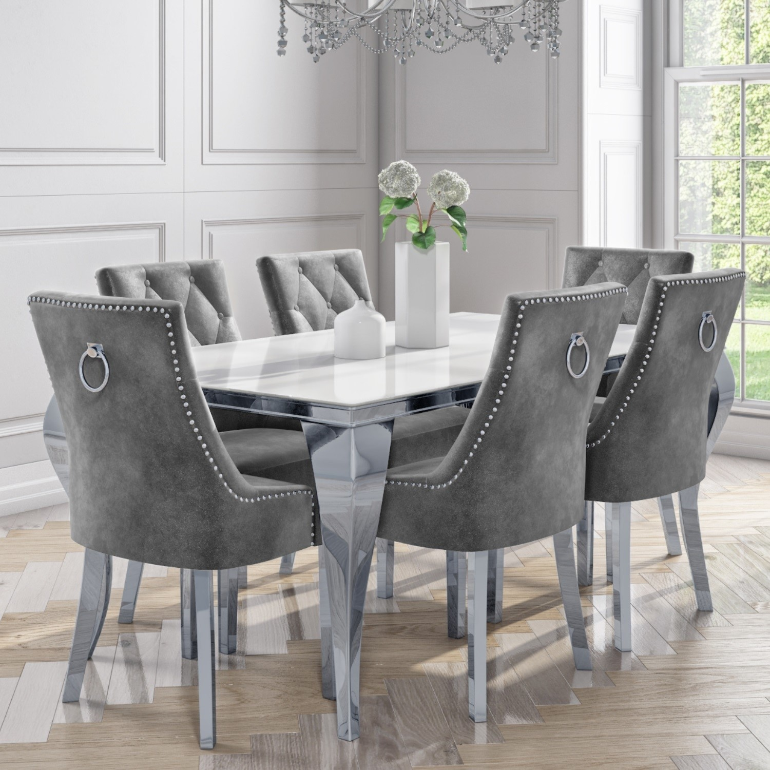 White Mirrored Dining Table With 6 Chairs In Grey Velvet Louis Furniture123