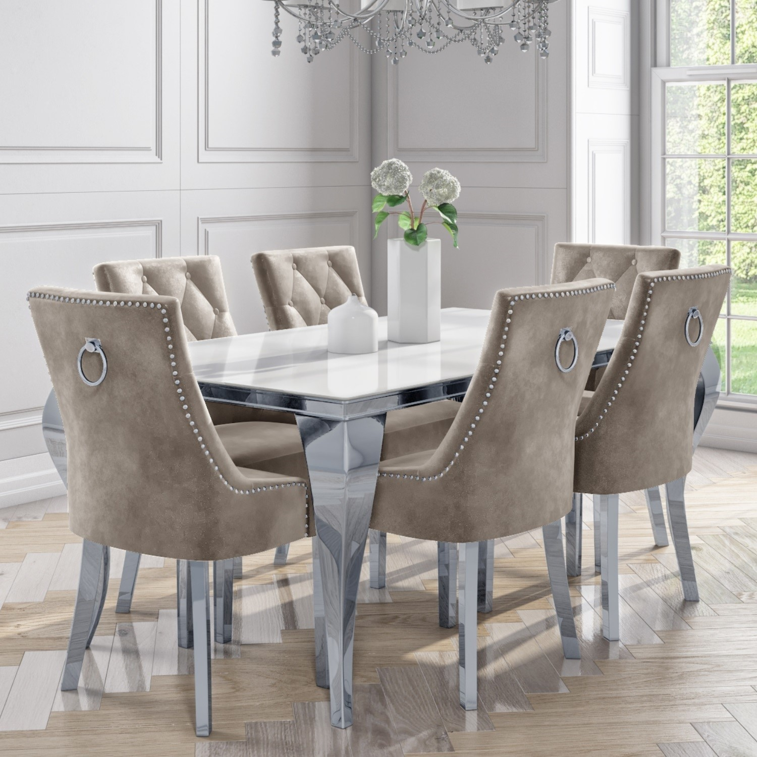 6 Seater Dining Set With White And Mirrored Table And Mink Velvet Chairs Jade Boutique Furniture123