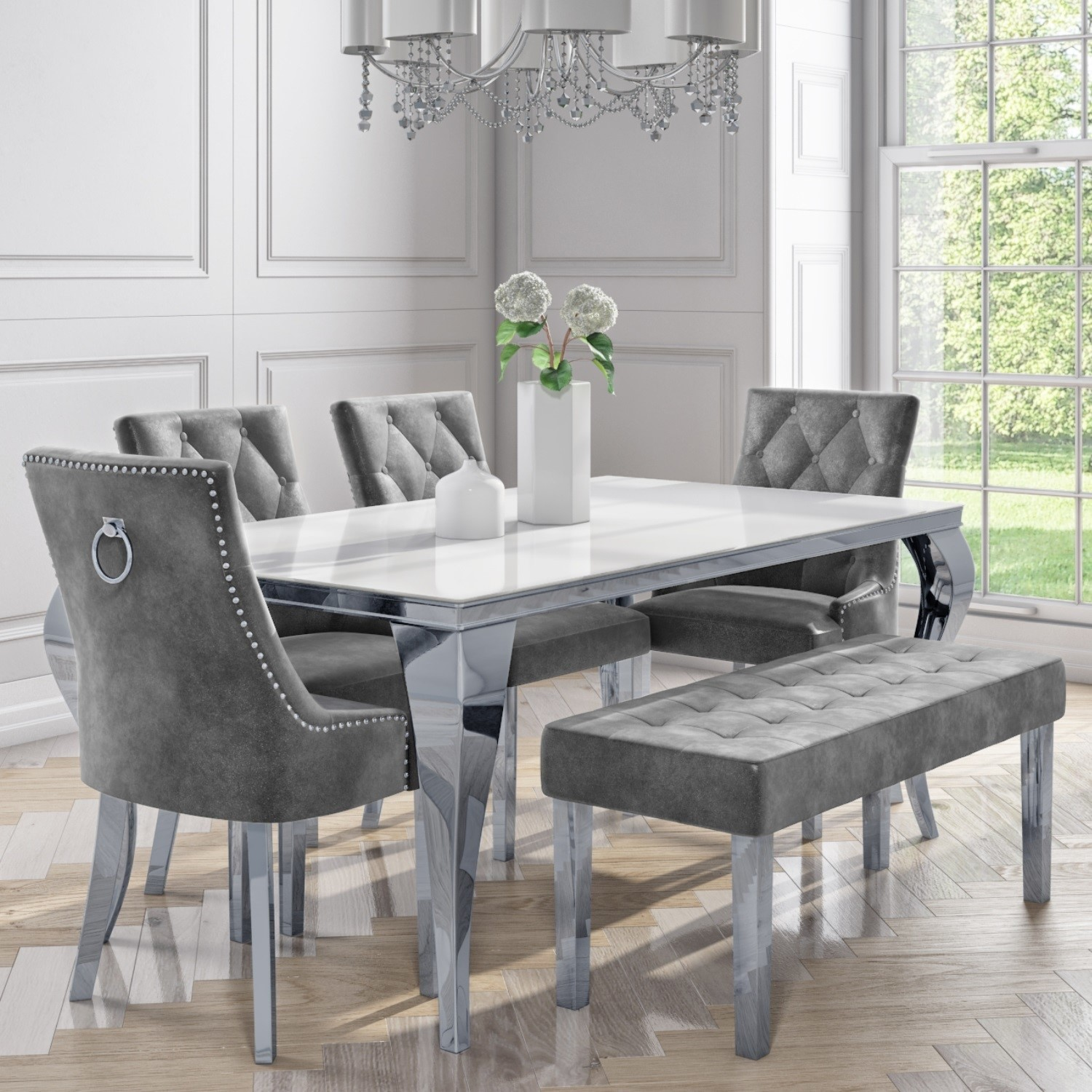 White Mirrored Dining Table with 100 Grey Velvet Chairs & 10 Bench - Jade  Boutique