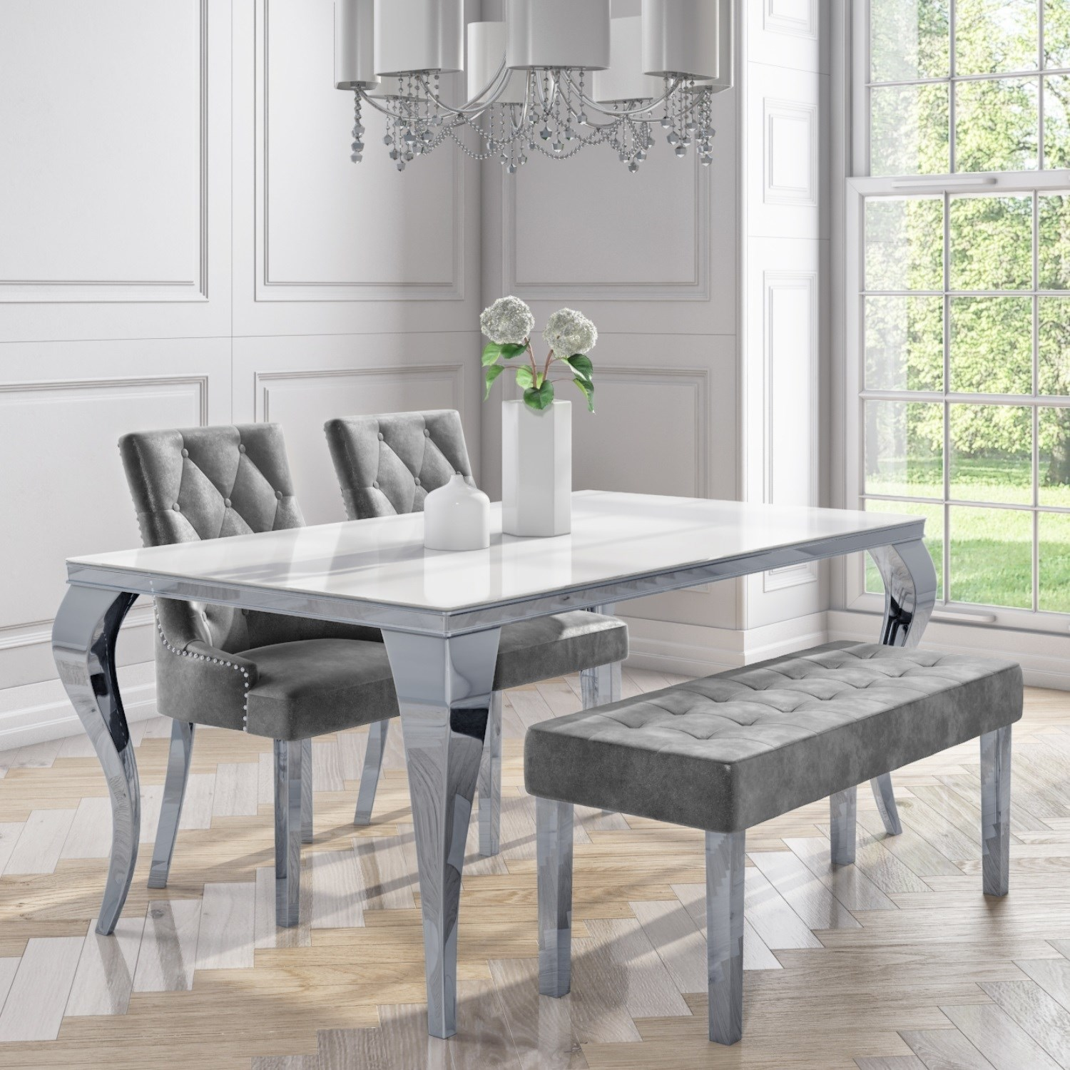 8 Seater Dining Set with White Table 8 Grey Velvet Chairs and 8 Bench -  Jade Boutique