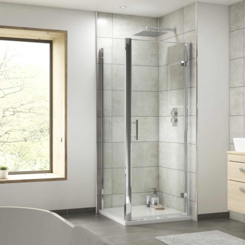 Showers 800 x 800mm Hinged Shower Enclosure - 6mm Glass - Fiji