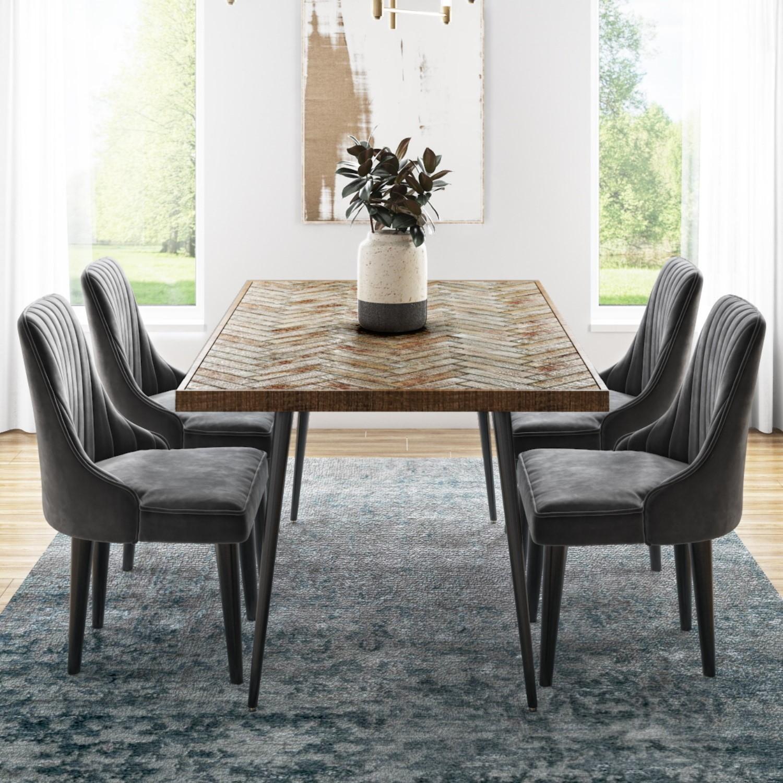 Herringbone Solid Wood Dining Table Set, Grey Dining Room Set