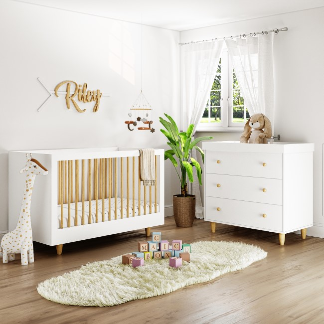 White and Pine 2 Piece Nursery Furniture Set - Cot Bed and Changing Station -  Astelle