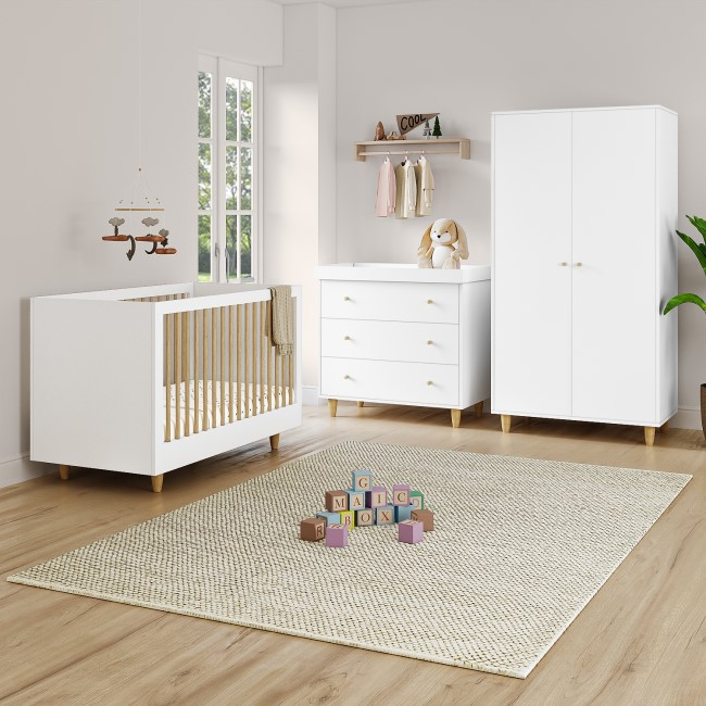 White and Pine 3 Piece Nursery Furniture Set - Cot Bed Changing Station and Wardrobe - Astelle
