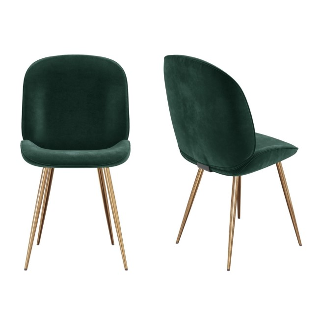 Set of 2 Dark Green Velvet Dining Chairs with Gold Legs - Jenna