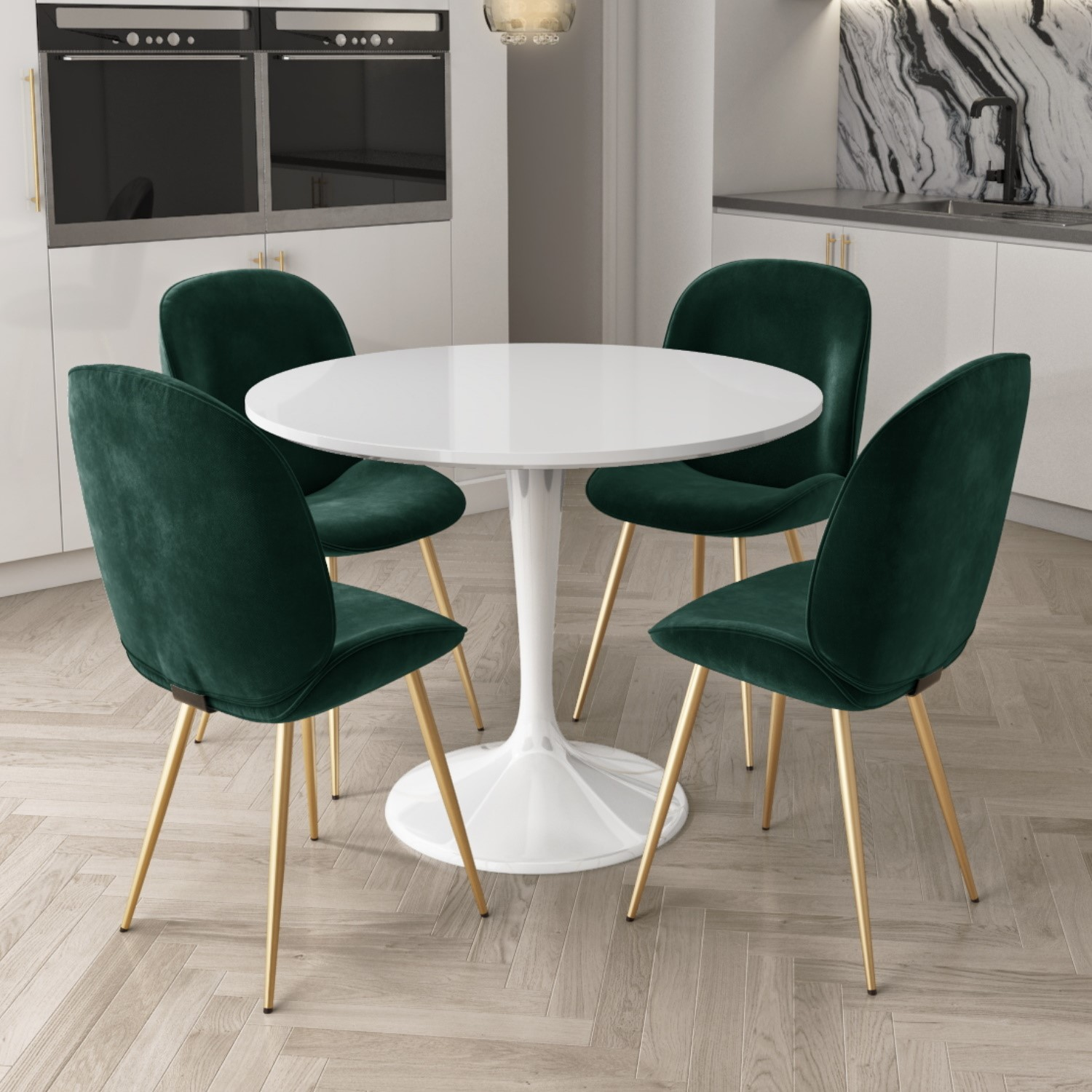 Aura White Round High Gloss Dining Table with 4 Dark Green