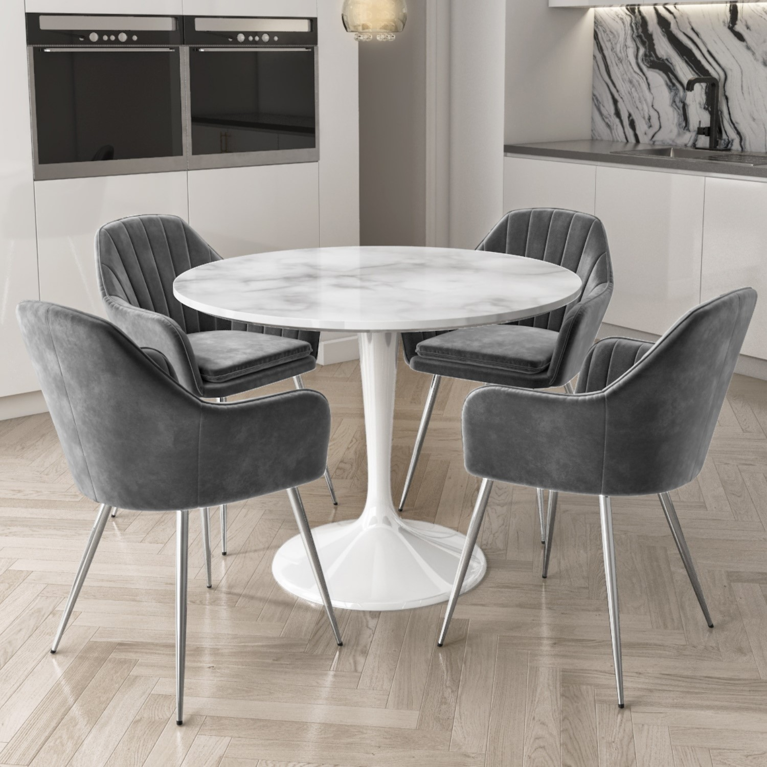 Aura Round White Faux Marble Dining Table With 4 Grey Velvet Dining Tub Chairs With Chrome Legs Furniture123