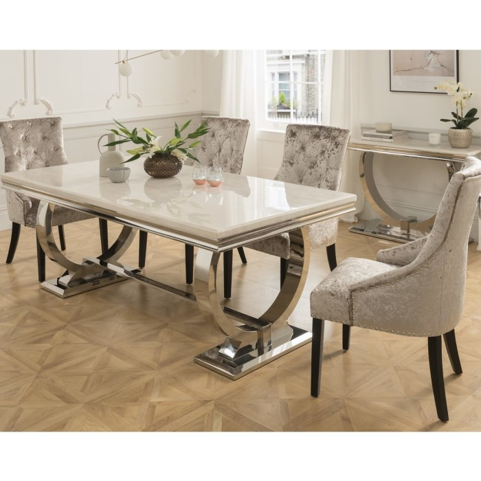 Vida Living Arianna Cream Marble Dining Table With 4