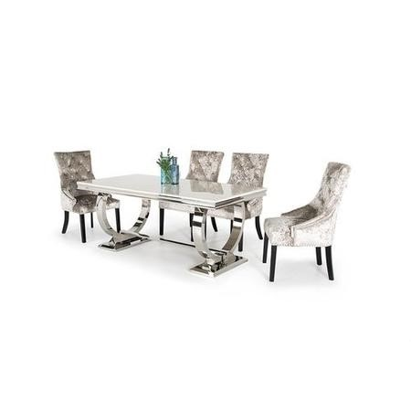 Vida Living Arianna Cream Marble Dining Table with 4 Crushed Velvet Dining Chairs
