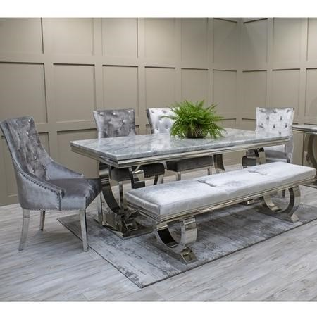 Grey Marble Dining Set with 180cm Table Velvet Chairs and Bench - Seats 6 - Vida Living Arianna