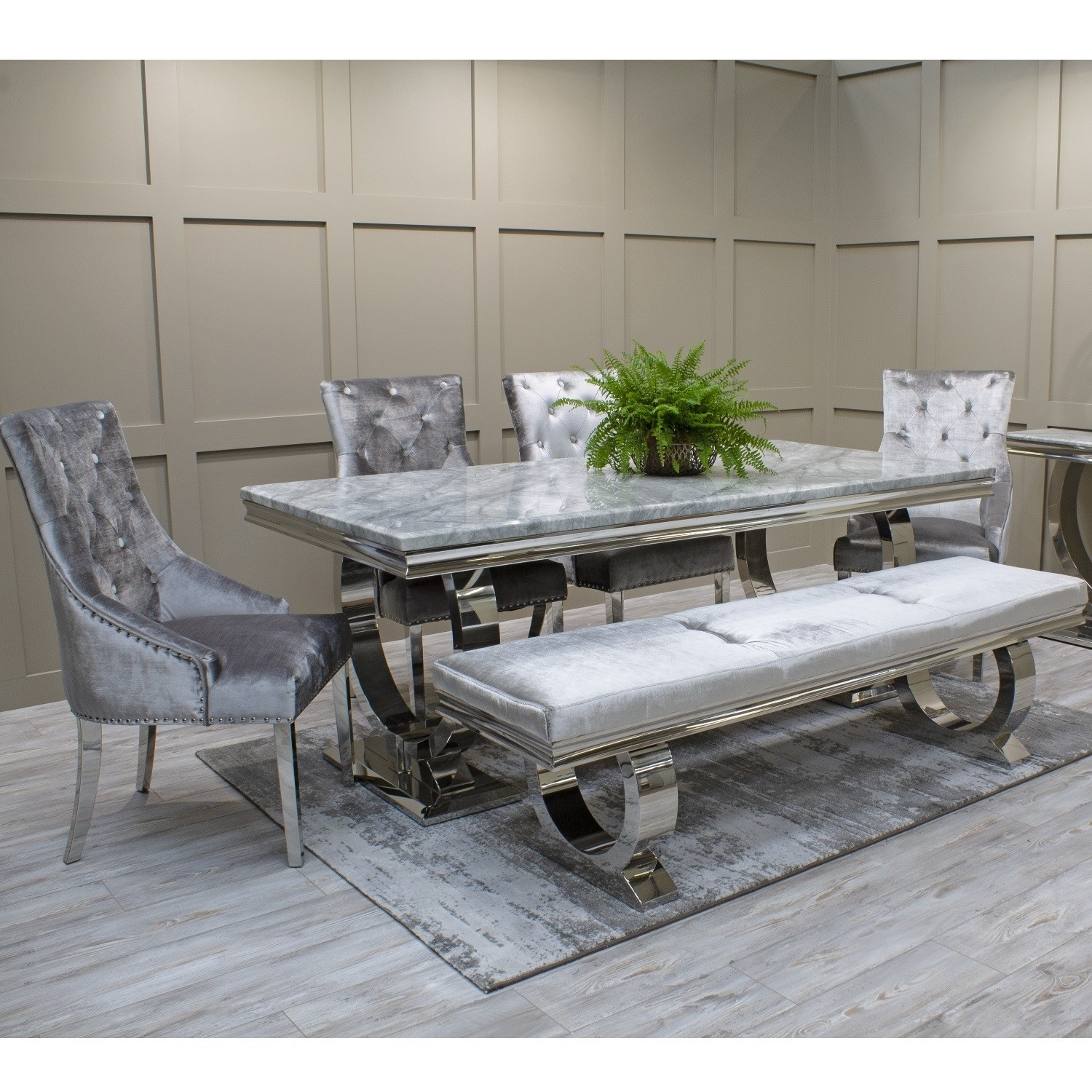 Excellent Arianna Grey Marble Dining Set With 180Cm Table 4 Velvet Chairs Bench Vida Living Alphanode Cool Chair Designs And Ideas Alphanodeonline