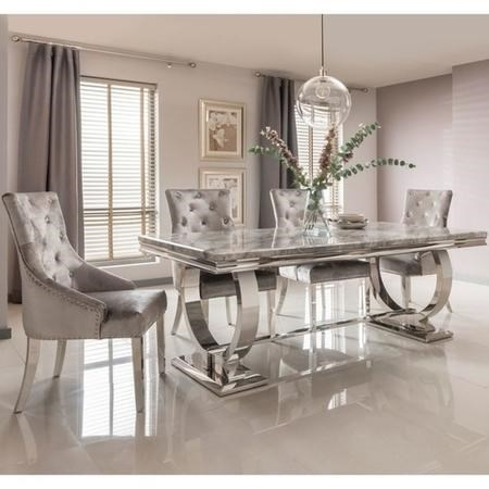 Grey Marble Dining Set with 180cm Table & Grey Velvet Chairs - Seats 4 - Arianna