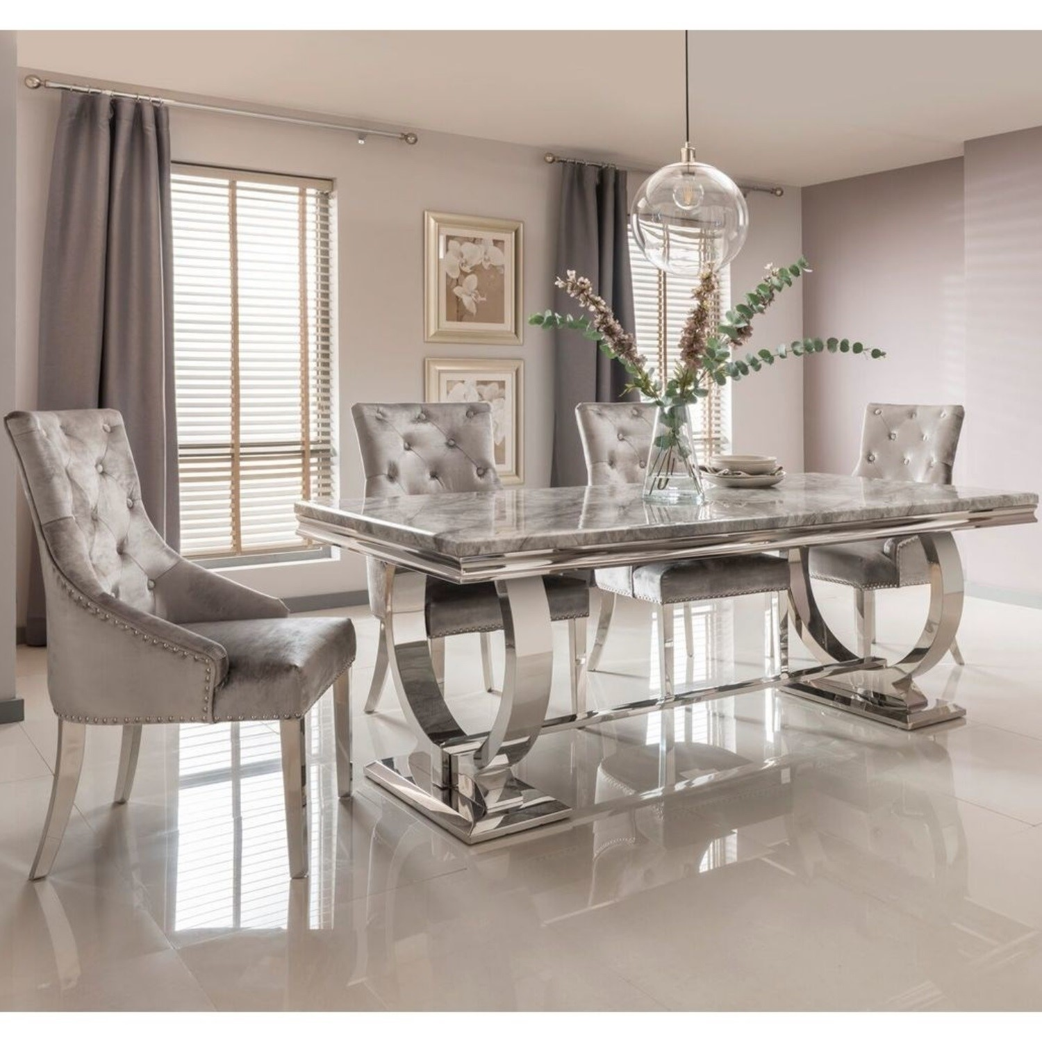 Picture of: Grey Marble Dining Set With 180cm Table Grey Velvet Chairs Seats 4 Arianna Furniture123