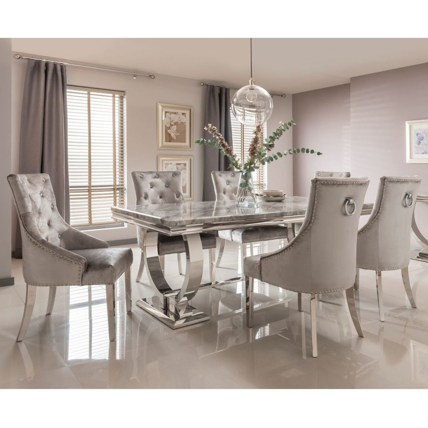 Picture of: Grey Marble Dining Set With 200cm Table 6 Velvet Chairs Arianna Furniture123