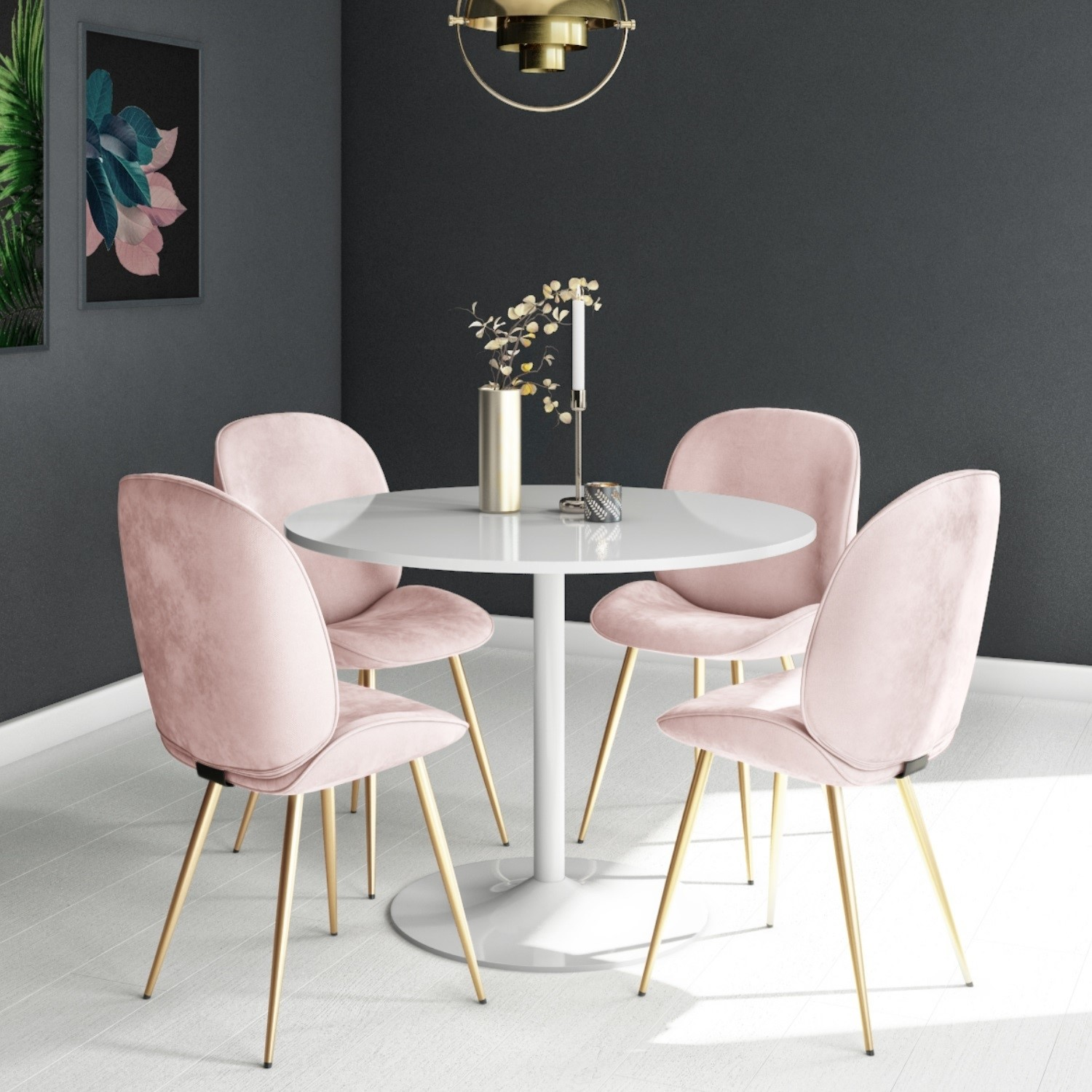 Jenna White Round Table & 9 Chairs in Pink Velvet with Gold Legs