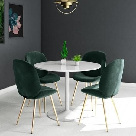 Jenna White Round Table & 4 Chairs in Green Velvet with Gold Legs