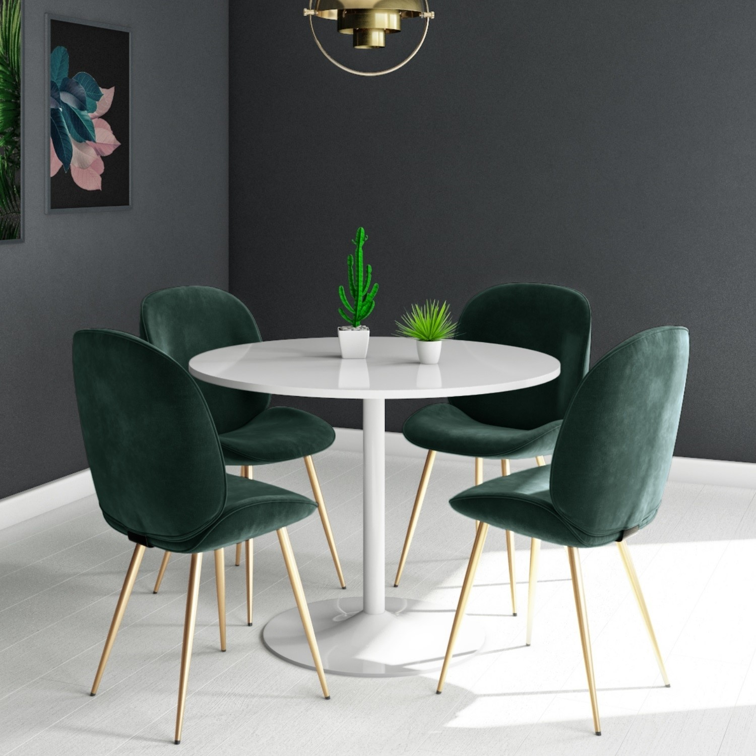 Brilliant Jenna White Round Table 4 Chairs In Green Velvet With Gold Legs Dailytribune Chair Design For Home Dailytribuneorg
