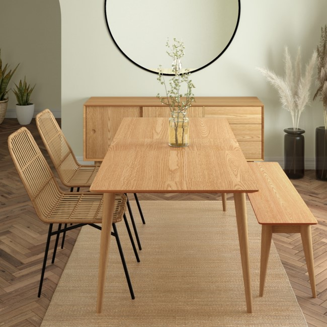 Briana Solid Oak Extendable Dining Table with Solid Oak Dining Bench and 2 Brown Rattan Dining Chairs
