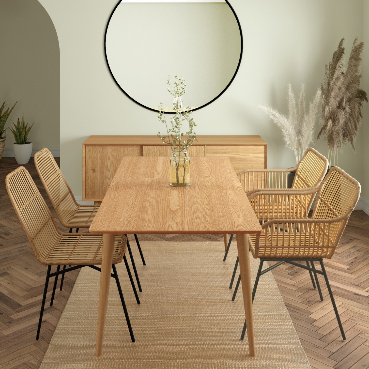 Briana Oak Extendable Dining Table with 9 Rattan Dining Chairs & 9 Rattan  Dining Armchairs