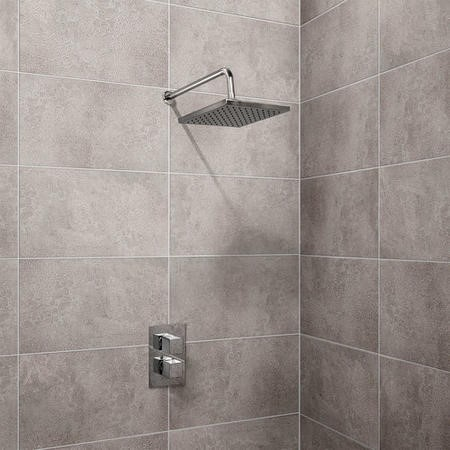 EcoCube Thermostatic Dual Shower Valve with Square 200mm Shower Head and Wall Arm