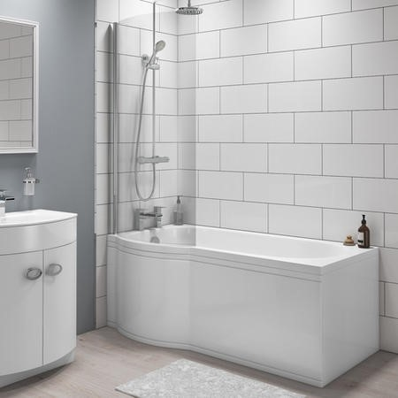 Dee Left Hand P Shape Bath with Front Panel and Screen - 1675 x 850mm