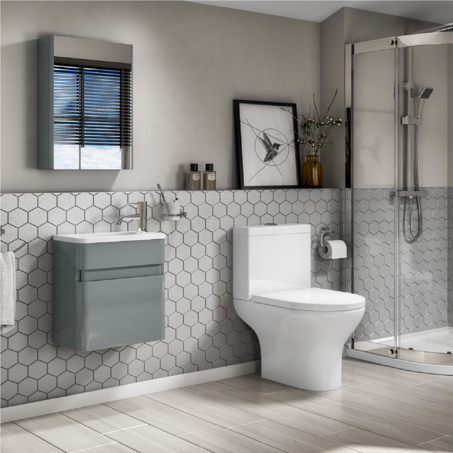 410mm Wall Mounted Light Grey Gloss Vanity Unit with Close