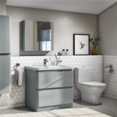 Close Coupled Toilet and 800mm Grey Vanity Basin Unit Suite - Portland Range