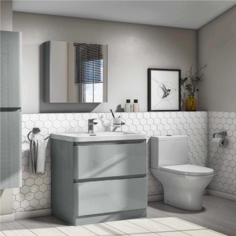 Close Coupled Toilet and 800mm Grey Vanity Basin Unit Suite  Portland Range