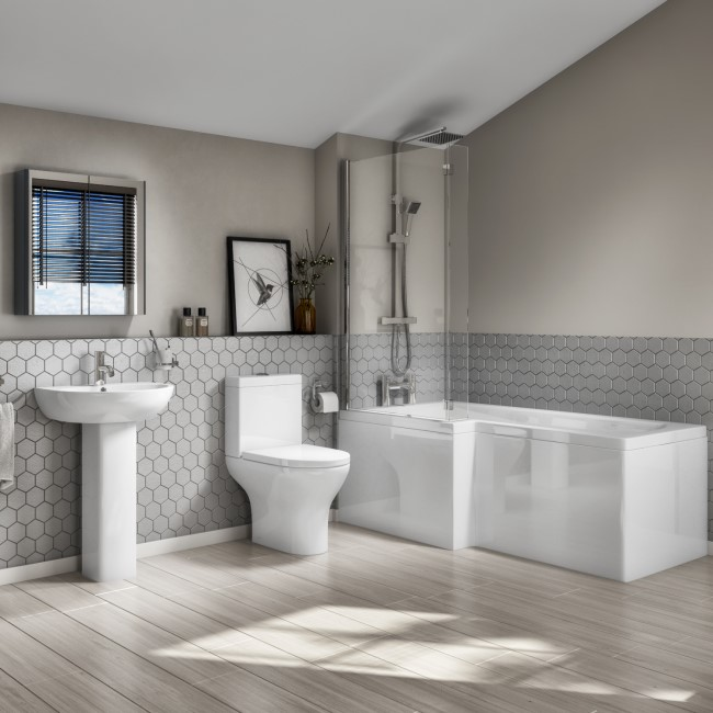 L-Shaped Left Hand Bath Suite with Portland Close Coupled Toilet & Basin