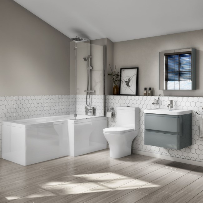 L Shaped Right Hand Bath Suite with 600mm Light Grey Wall Hung Vanity Unit and Toilet - Portland