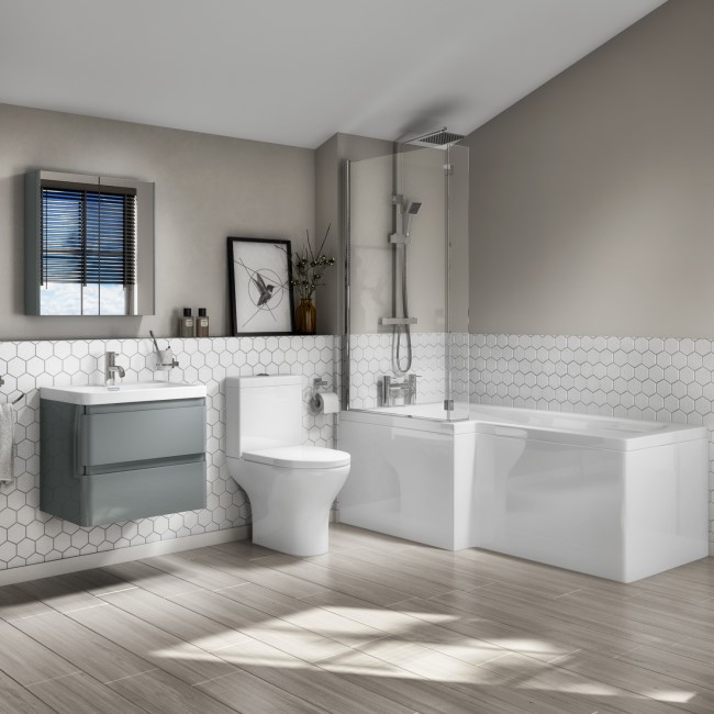1700mm L Shaped Left Hand Bath Suite with 600mm Light Grey Wall Hung Vanity Unit and Toilet - Portland