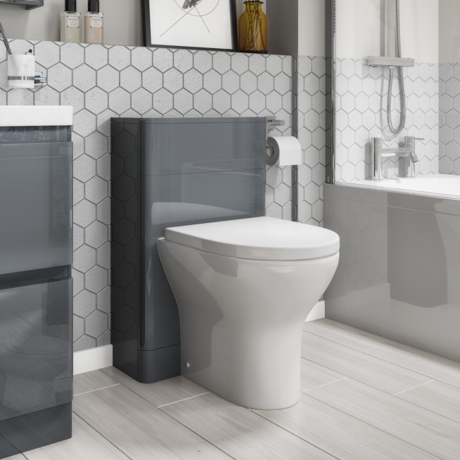 500mm Dark Grey Gloss Curved Corner WC Unit with Back to Wall Toilet - Portland