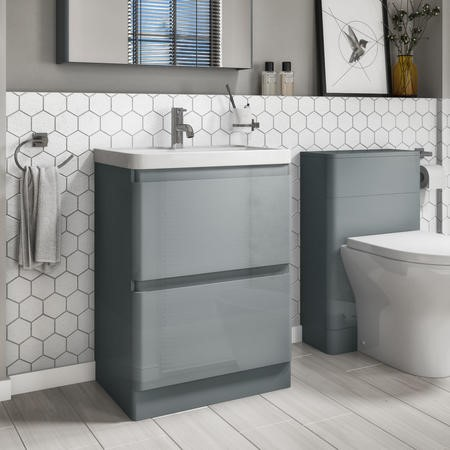 600mm Light Grey Gloss Floor Standing 2 Drawer Vanity Unit with Basin - Portland