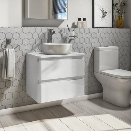 600mm White Gloss Wall Hung Vanity Unit with 415mm Basin  - Portland