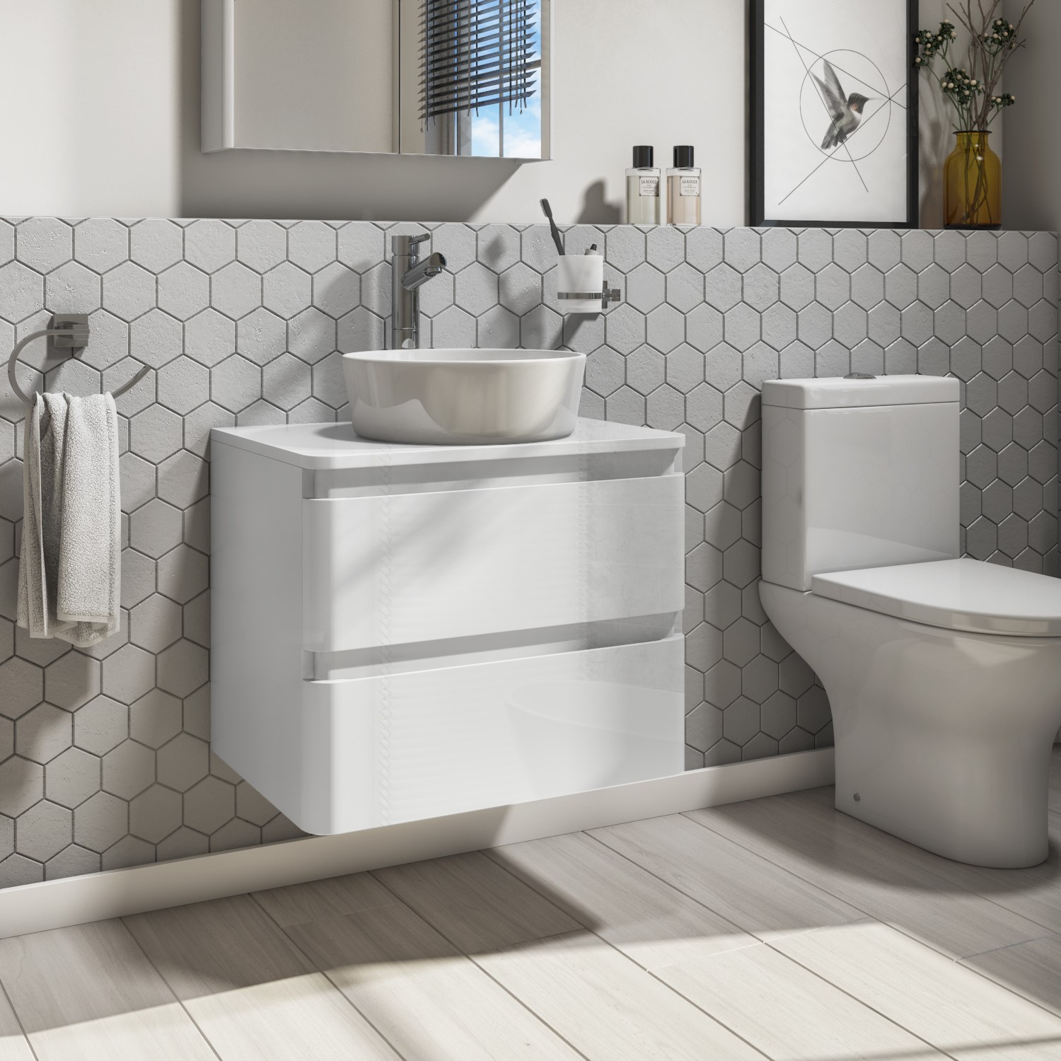 600mm White Gloss Wall Hung Vanity Unit With 415mm Basin Portland Furniture123