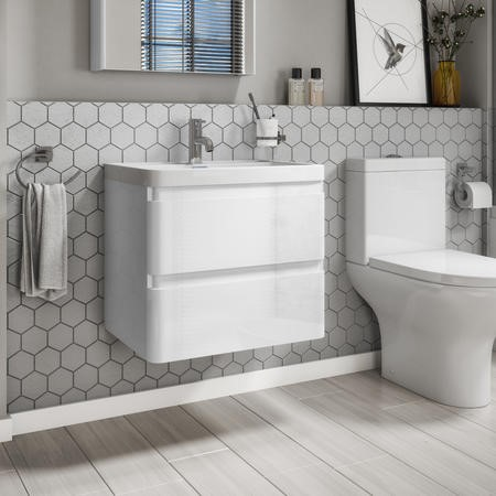Portland 600mm Wall Hung Vanity Basin Unit White Gloss 2 Drawers