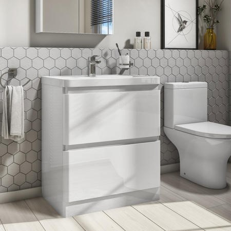800mm White Gloss Floorstanding 2 Drawer Vanity Unit with Basin - Portland