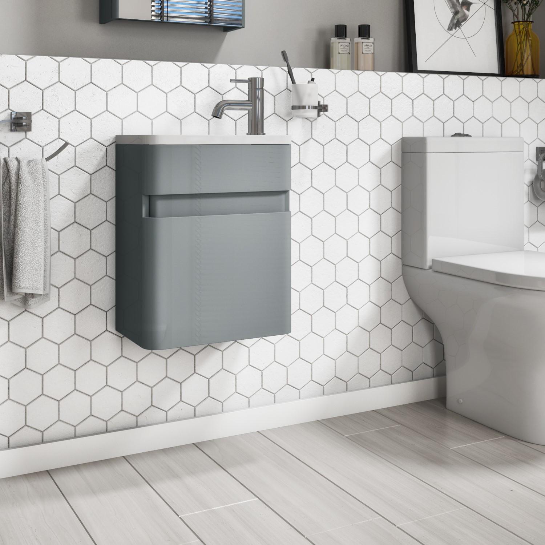 410mm Light Grey Gloss Wall Hung Vanity Unit with Basin - Portland