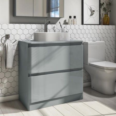 800mm Light Grey Gloss Vanity Unit 2 Drawers with 525mm Countertop Basin - Portland