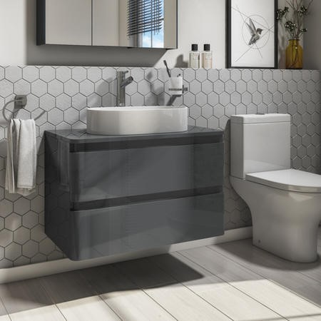 800mm Dark Grey Gloss Wall Hung Countertop Vanity Unit with 525mm Basin - Portland