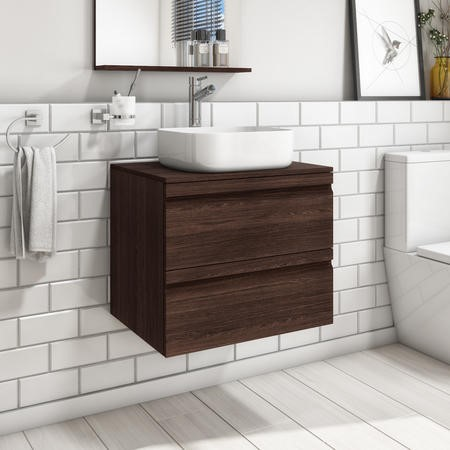 600mm Wall Hung 2 Drawer Vanity Unit with Dover 385mm Basin Dark Oak - Boston