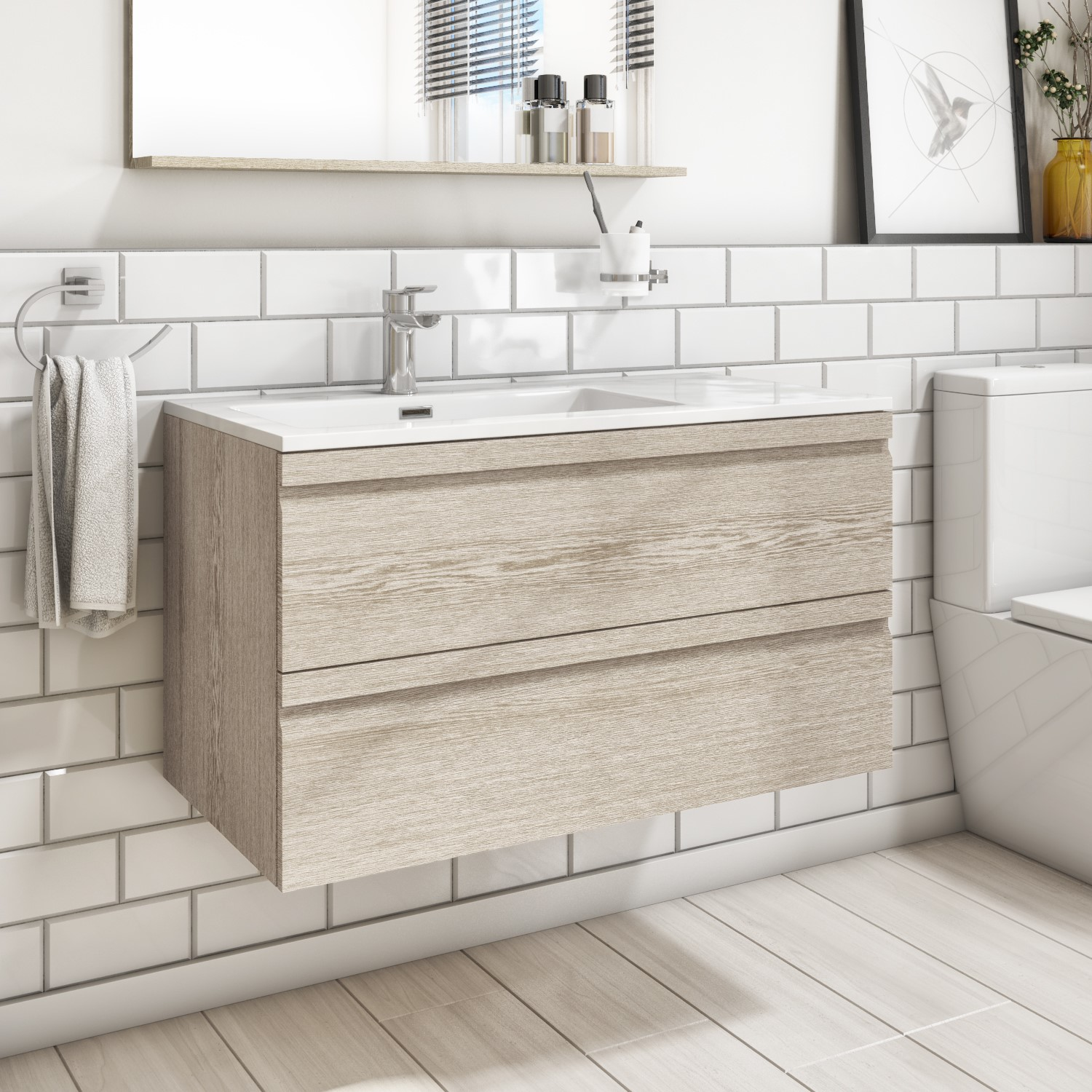 900mm Wall Hung 2 Drawers Vanity Unit with Basin Light Oak -